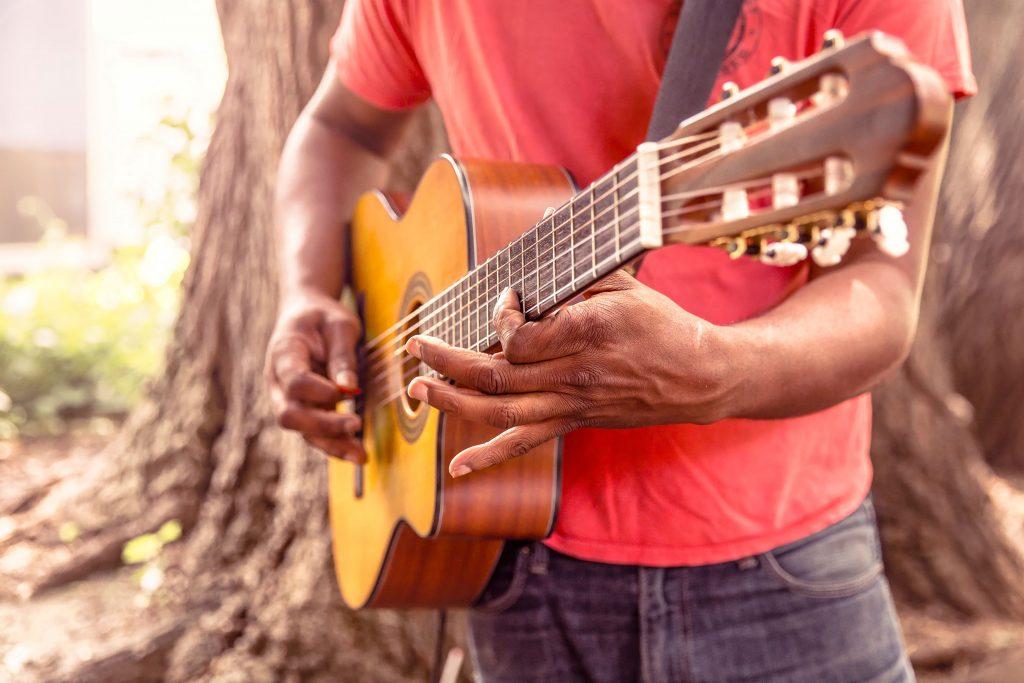 Guitar Music Wooden Brown 4K Wallpaper