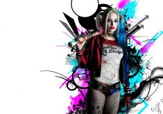 Harley Quinn Suicide Squad Red Blue 4K Wallpaper