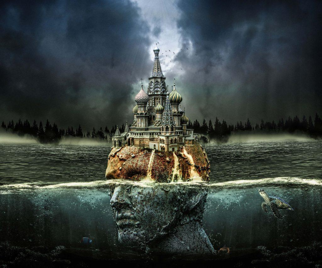 Head Fantasy Castle Water Clouds 4K Wallpaper