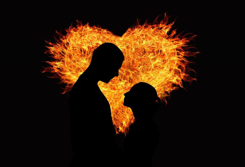 Heart Fire Orange Yellow Couple Love 4K Wallpaper