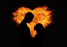Heart Fire Orange Yellow Couple Love 4K Wallpaper