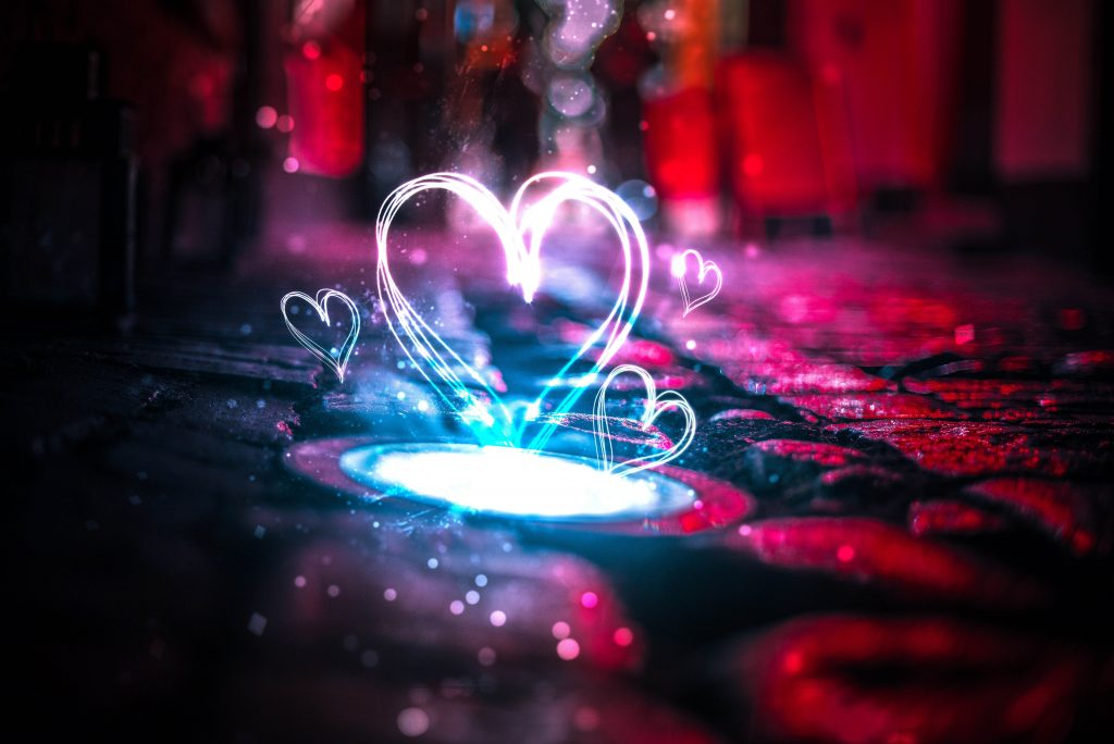 Heart Love Creative Neon Red Blue 5K Wallpaper