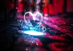 Heart Love Creative Neon Red Blue 5K Wallpaper