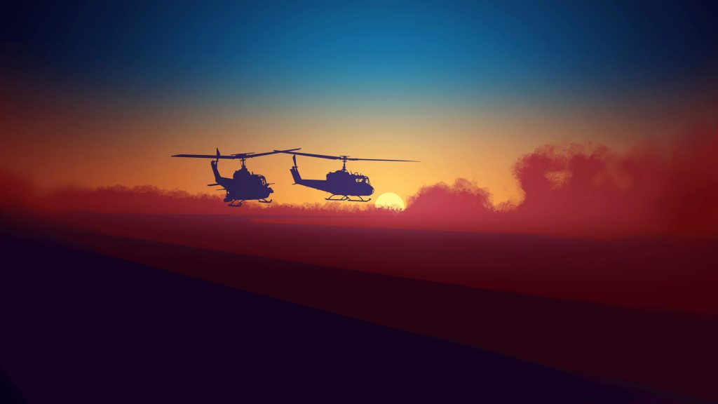 Helicopter Army Military Minimal 5K Wallpaper