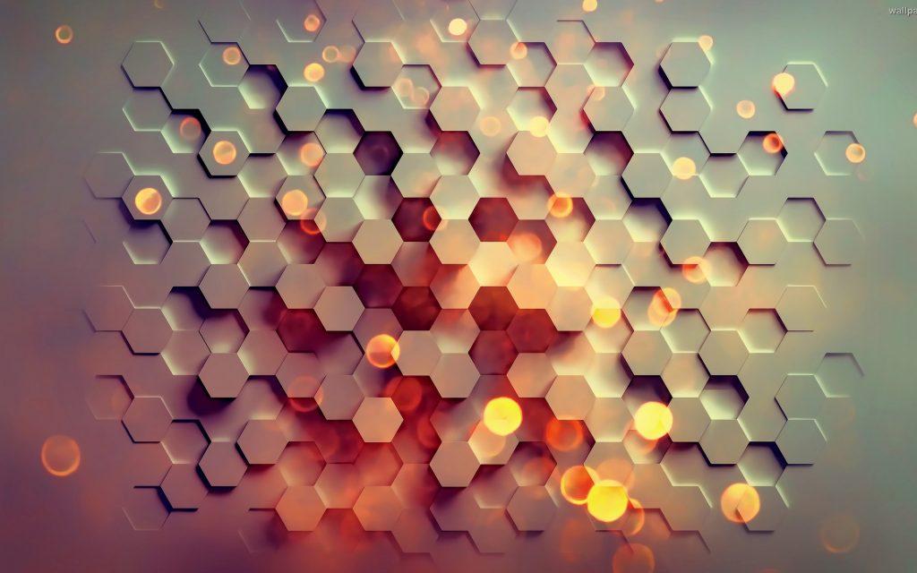 Hexagon Pattern Abstract Orange Red 4K Wallpaper - Best ...