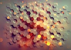Hexagon Pattern Abstract Orange Red 4K Wallpaper