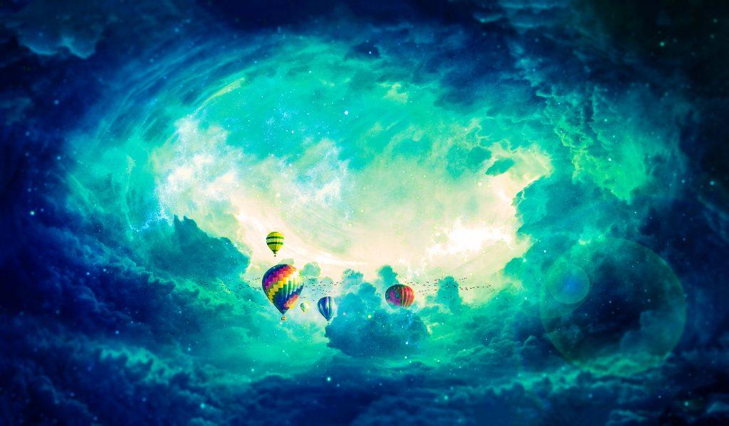Hot Air Balloons Clouds Blue 4K Wallpaper