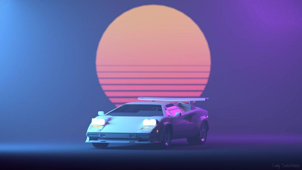 Lamborghini Retro Neon Sun 4K Wallpaper