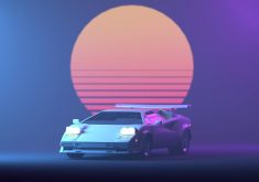 Lamborghini Retro Neon Sun 4K Wallpaper