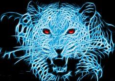 Leopard Animal Wild Art Artistic Blue Eyes 4K Wallpaper