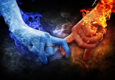 Love Fire Blue Orange Red Hands Smoke 4K Wallpaper