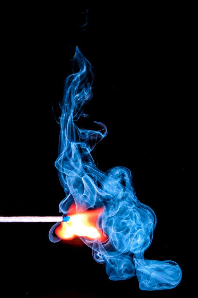 Match Stick Blue Fire Orange Smoke 4K Wallpaper