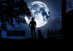 Moon Person Night Dog Stars Blue Sky 4K Wallpaper