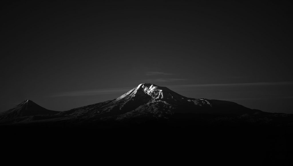 Mountain Monochrome Snow 4K Wallpaper