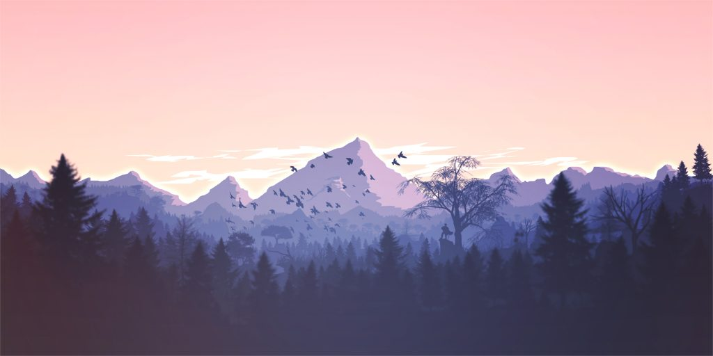Mountains Trees Orange Blue Birds Art 4K Wallpaper
