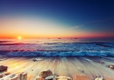 Ocean Water Wave Sunset Blue Sky 4K Wallpaper