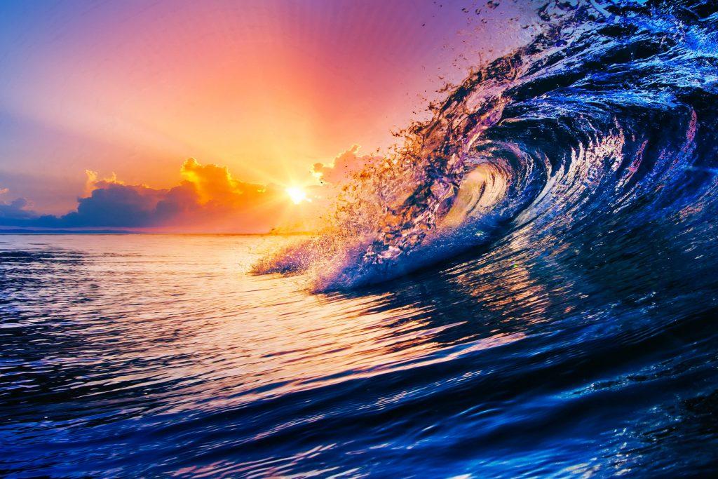 Ocean Wave Sun Orange Yellow Blue 4K Wallpaper