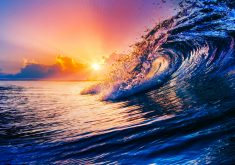 Ocean Wave Sun Orange Yellow Blue 4K Wallpaper