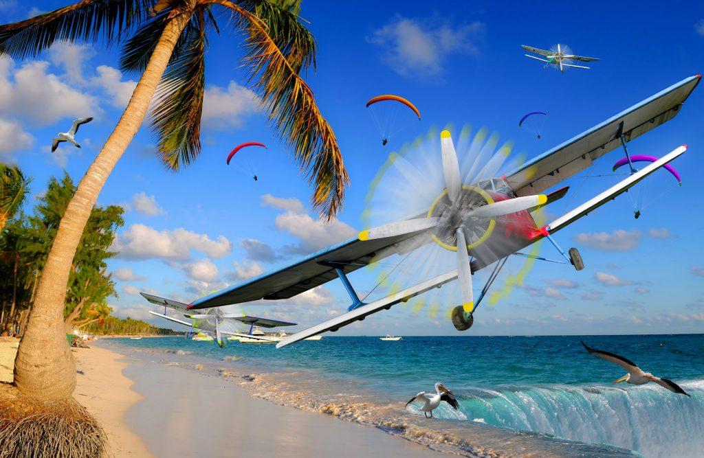 Planes Birds Water Blue Sky Clouds Trees 4K Wallpaper