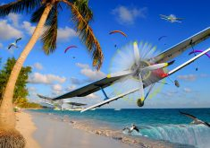 Planes Birds Water Blue Sky Clouds Trees 4K Wallpaper