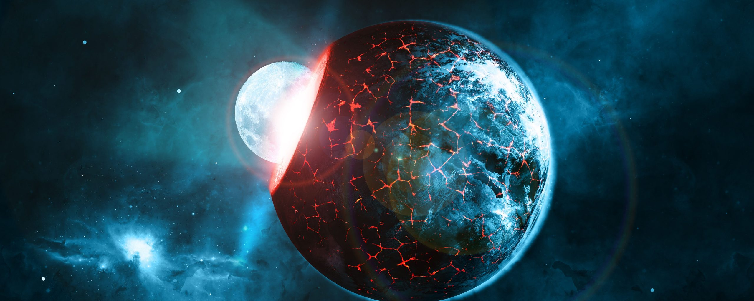 Planets Space Blue Red Collision Stars 4k Wallpaper Best