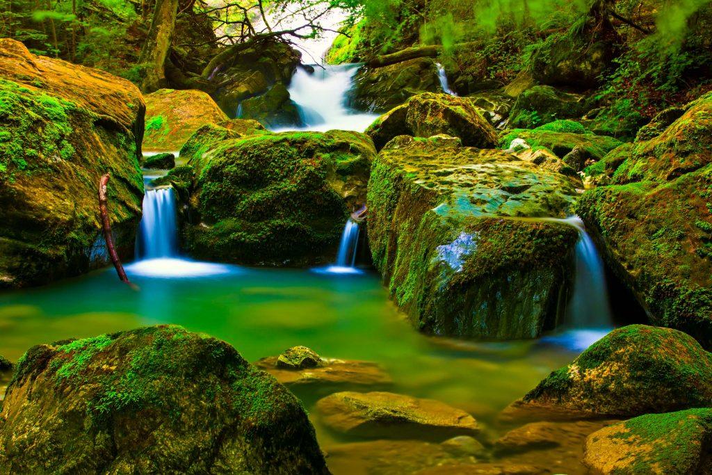 River Water Green Rocks Nature 4K Wallpaper