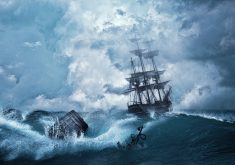 Ship Ocean Water Blue Anchor Storm 4K Wallpaper