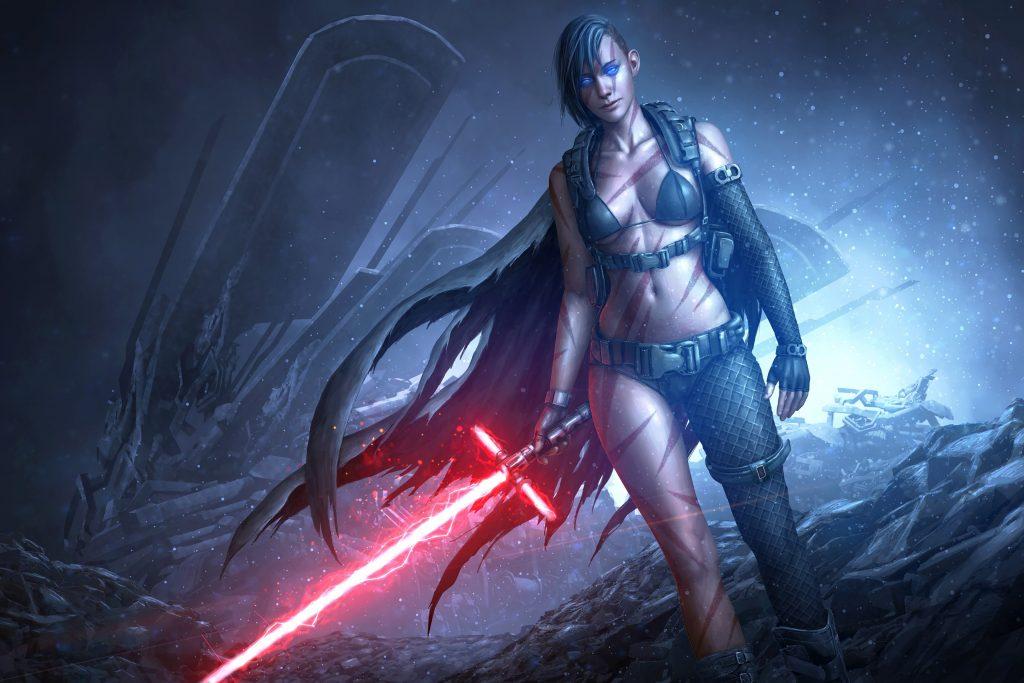 Star wars girl lightsaber red game 4k wallpaper best - 4k star wars wallpaper ...