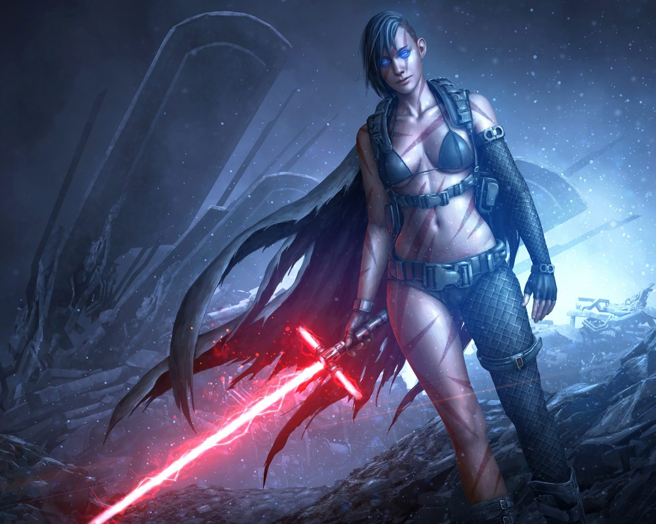 Star Wars Girl Lightsaber Red Game 4k Wallpaper Best Wallpapers