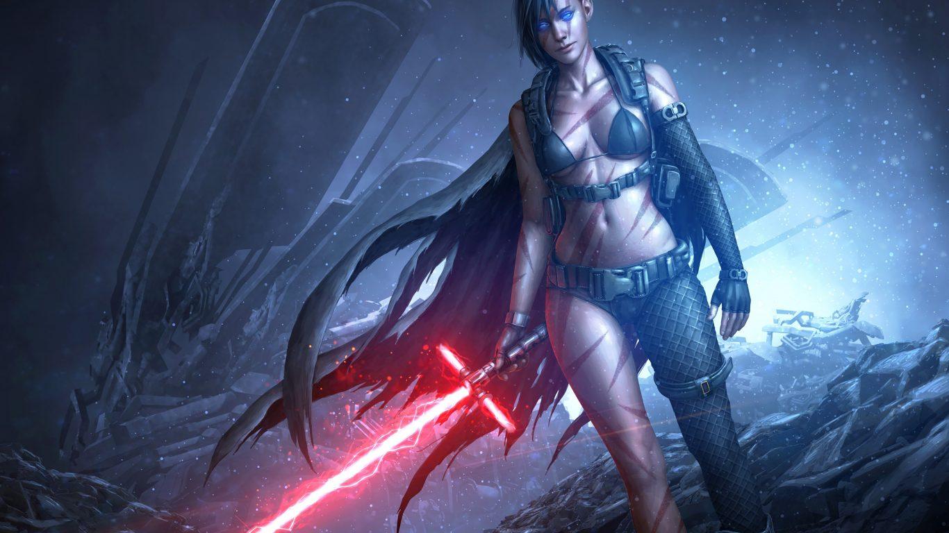Star Wars Girl Lightsaber Red Game 4k Wallpaper Best Wallpapers