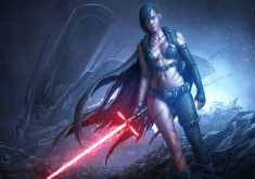 Star Wars Girl Lightsaber Red Game 4K Wallpaper