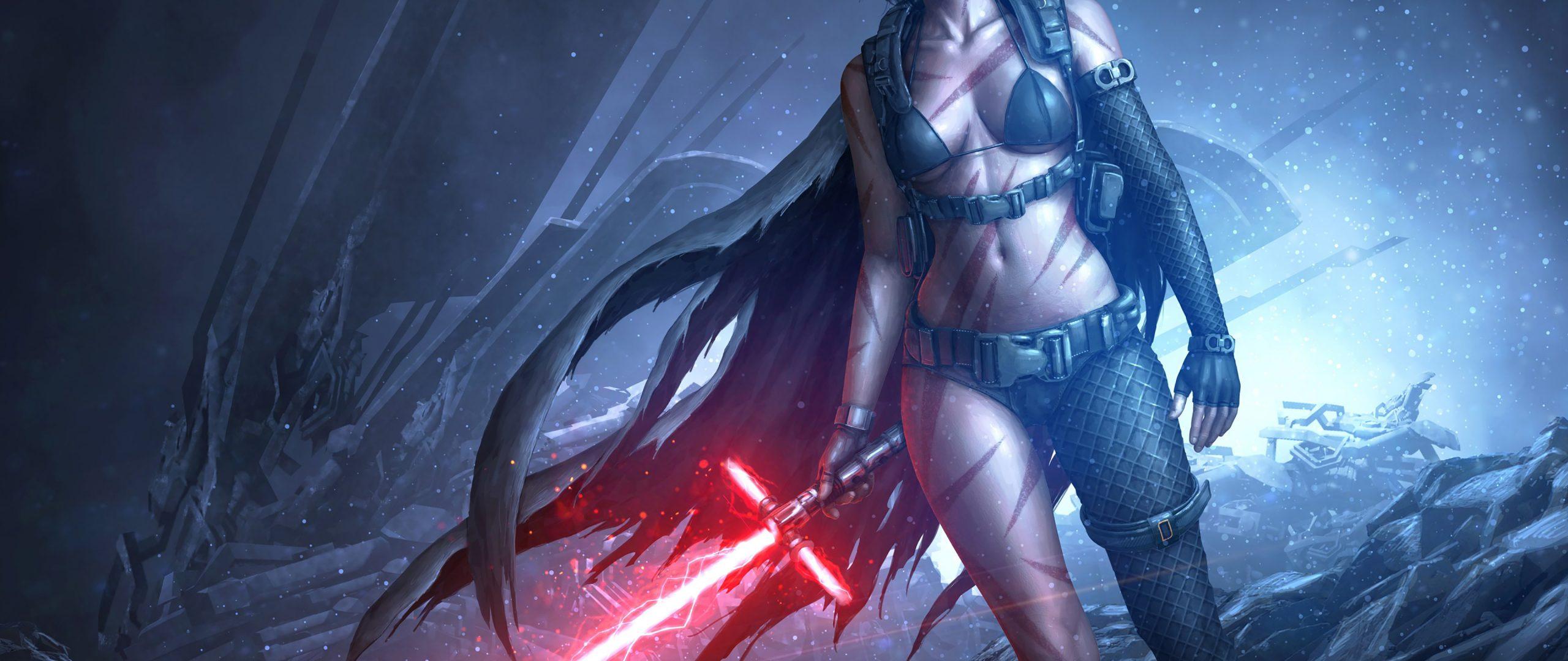 Star Wars Girl Lightsaber Red Game 4K Wallpaper