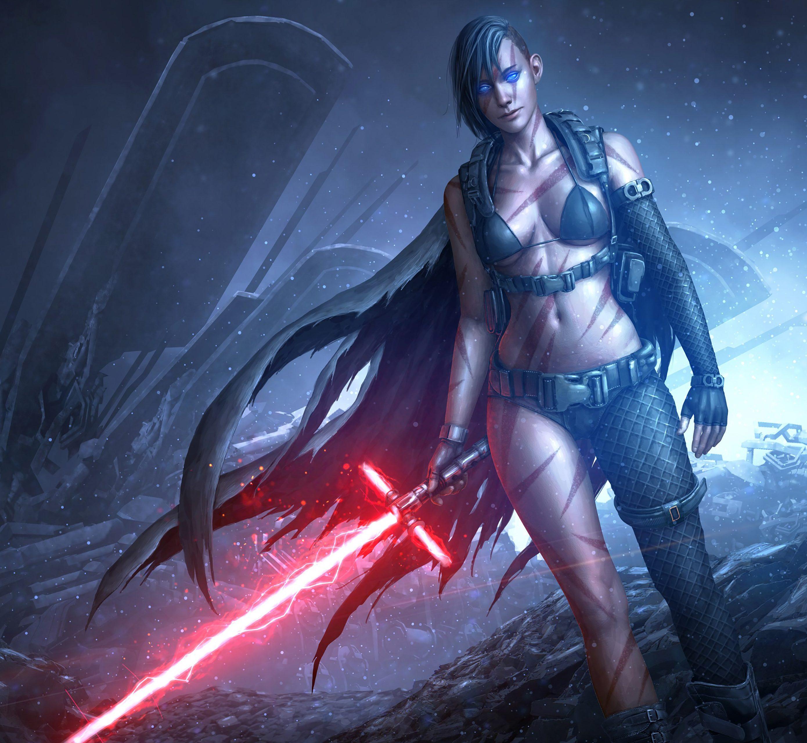 Star Wars Girl Lightsaber Red Game 4K Wallpaper - Best ...