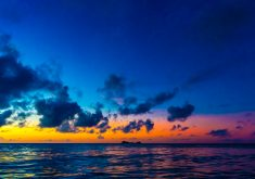 Sunset Ocean Sky Blue Orange Red 4K Wallpaper