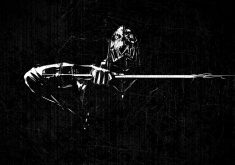 Sword Man Person Monochrome 4K Wallpaper