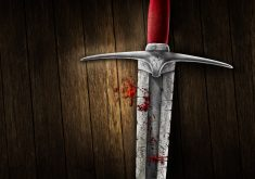 Sword Red Metal Wood Silver 4K Wallpaper
