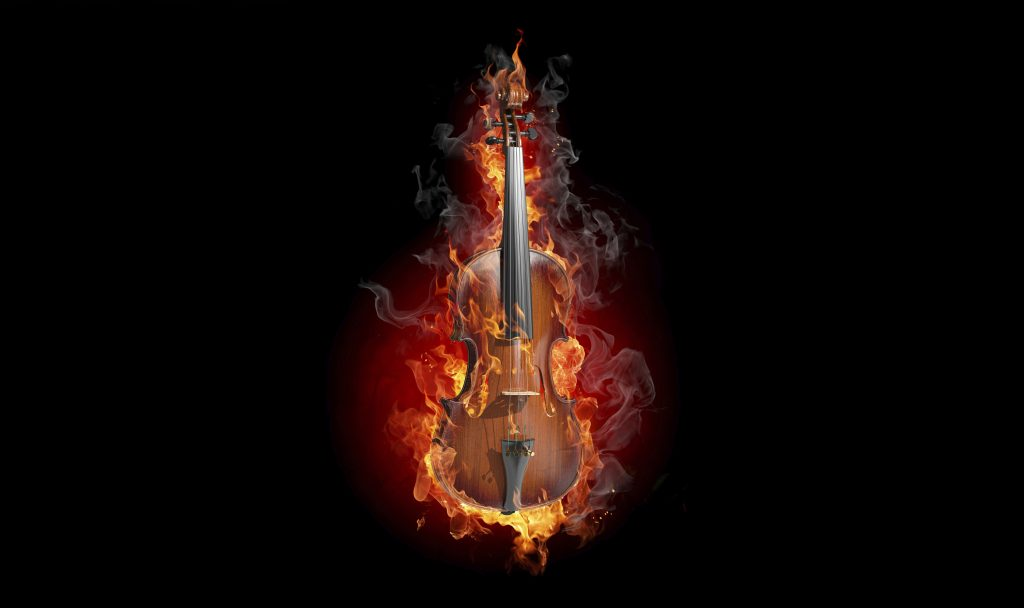 Violin Fire Music Instrument Dark Black 4K Wallpaper
