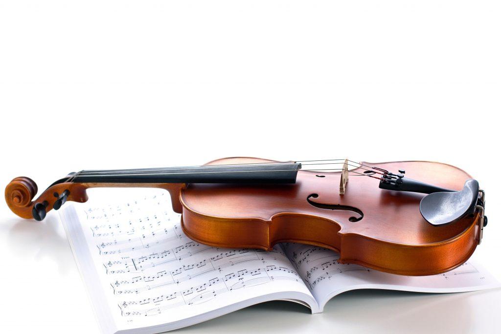 Violin Music Instrument Book Notes 4K Wallpaper