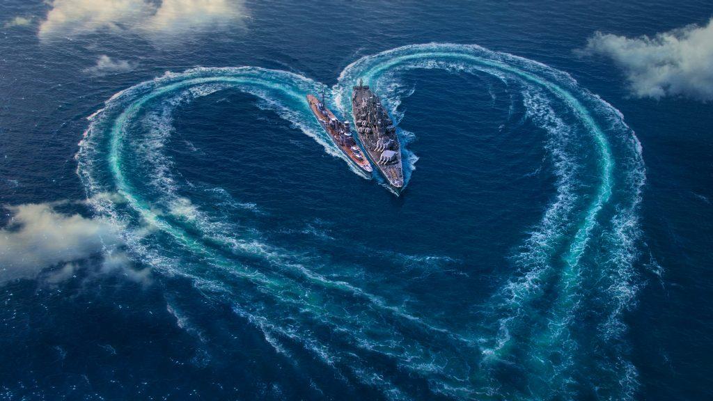 World Of Warships Love Heart Ocean 4k Wallpaper Best Wallpapers