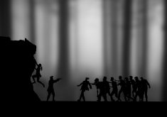 Zombies Black White Monochrome 4K Wallpaper