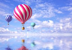 3D Balloons Blue Sky Reflection Water 4K Wallpaper