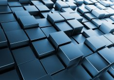 3D Square Abstract Blue 4K Wallpaper