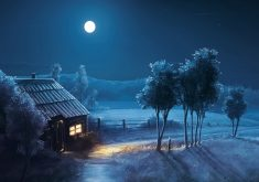 Art Moon Blue Night Trees House 4K Wallpaper