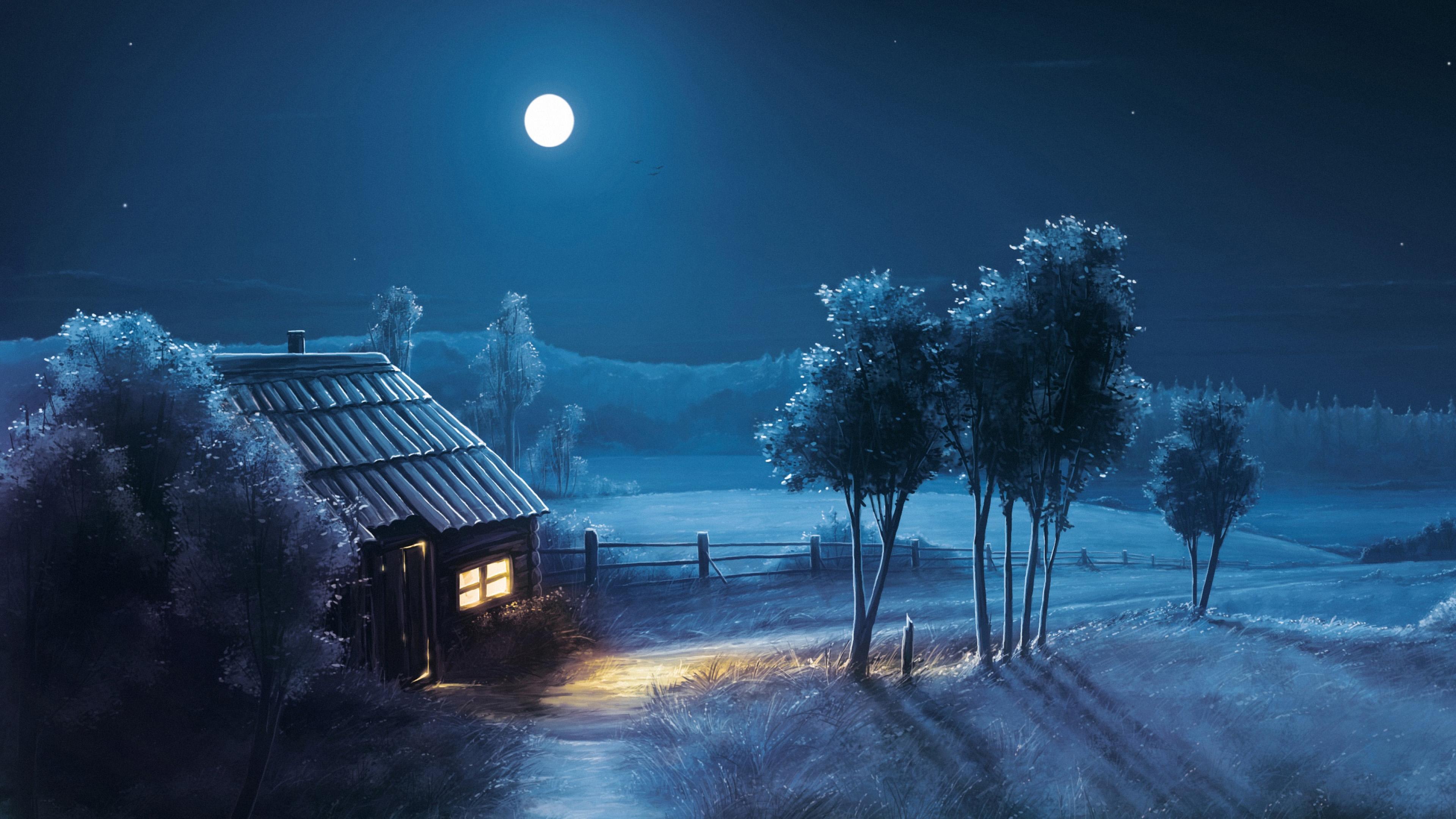 Art Moon Blue Night Trees House 4k Wallpaper Best Wallpapers