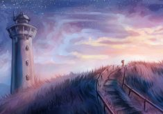 Art Painting Artistic Tower Path Way 4K Wallpaper