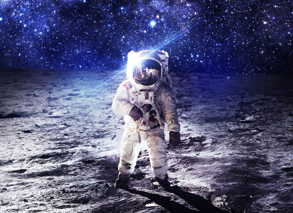 Astronaut Moon Night Stars Blue 4K Wallpaper