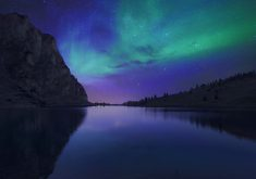 Aurora Nature Lake Mountain Water Reflection 4K Wallpaper