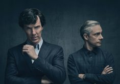 Benedict Cumberbatch and Martin Freeman Dark Sherlock Holmes TV Show 4K Wallpaper