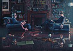 Benedict Cumberbatch and Martin Freeman Sherlock Holmes Room TV Show 4K Wallpaper