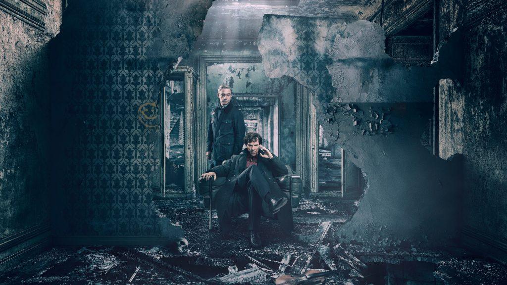Benedict Cumberbatch and Martin Freeman Sherlock Holmes TV Show 4K Wallpaper
